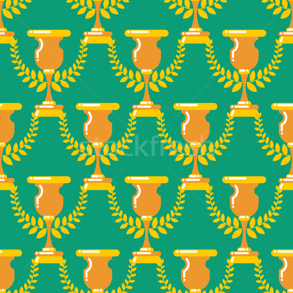 Winner cup gold seamless pattern. Prize of championship ornament Stock photo © MaryValery