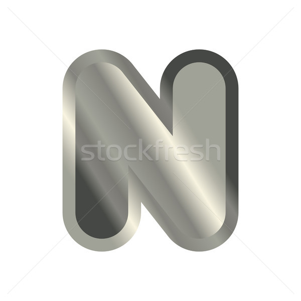 Letter N steel font. Metal alphabet sign. Iron ABC symbol. chrom Stock photo © MaryValery