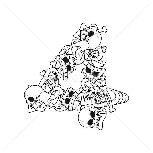 Number 4 skeleton. Bones Font four. Anatomy of an alphabet symbo Stock photo © MaryValery