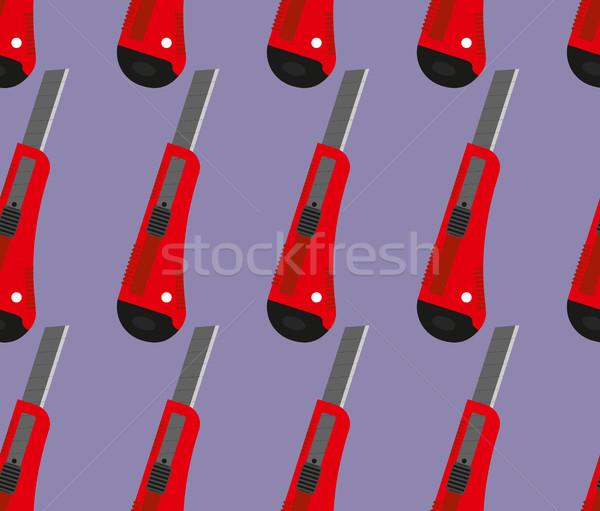 Stock fotó: Iroda · kés · végtelen · minta · vektor · piros · papír
