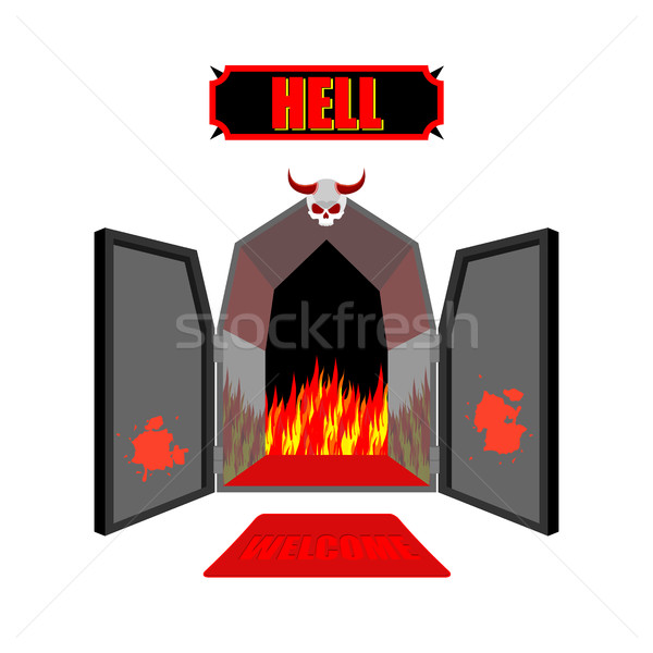 Gate to hell. Entrance to hellish Inferno. Access to Satan. Flam Stock photo © MaryValery
