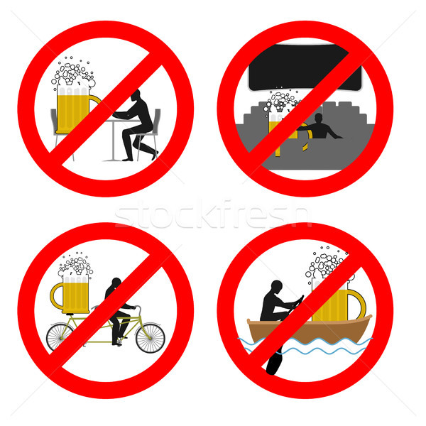 Forbidden to drink alcohol in public places. Stop mug of beer at Stock photo © MaryValery