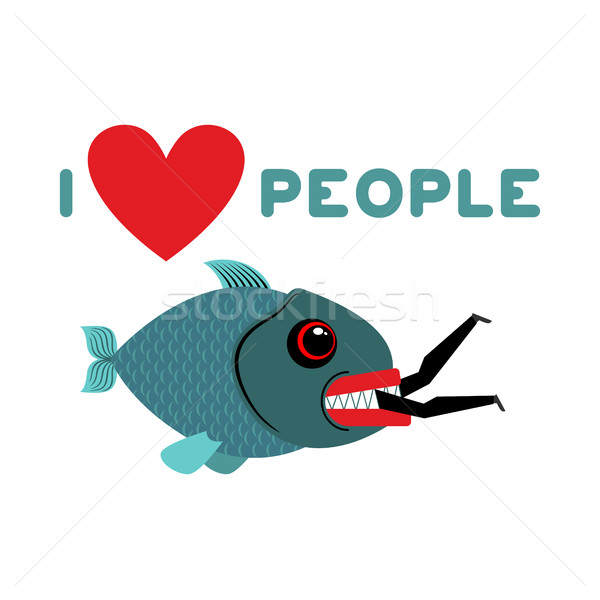 I love people. predator fish eats man. Wild sea Shark and male.  Stock photo © MaryValery