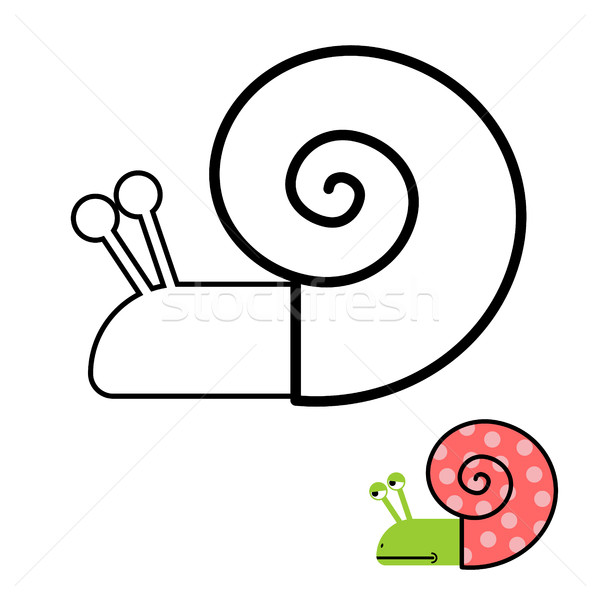 Snail coloring book. Gastropoda clam with spiral shell. Vector i Stock photo © MaryValery