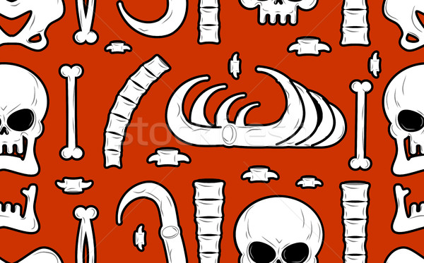 Skeleton background. Bones seamless pattern. Skull ornament. Ana Stock photo © MaryValery