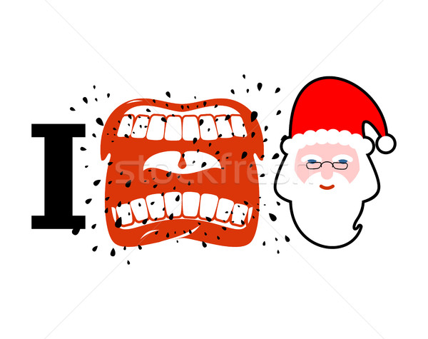I hate christmas. shout symbol of hatred face Santa Claus. Aggre Stock photo © MaryValery
