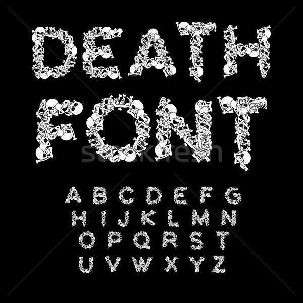 Death font. Bones ABC. Skeleton alphabet. Letters anatomy. Skull Stock photo © MaryValery