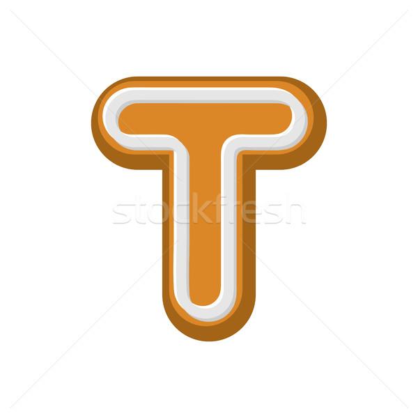 T betű mézeskalács borsmenta betűtípus sütik ábécé Stock fotó © MaryValery