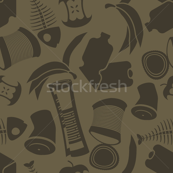 litter background. Rubbish seamless pattern. Garbage texture. tr Stock photo © MaryValery