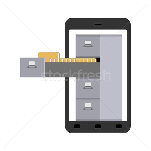 Akta faliszekrény okostelefon vasaló doboz iratok Stock fotó © MaryValery