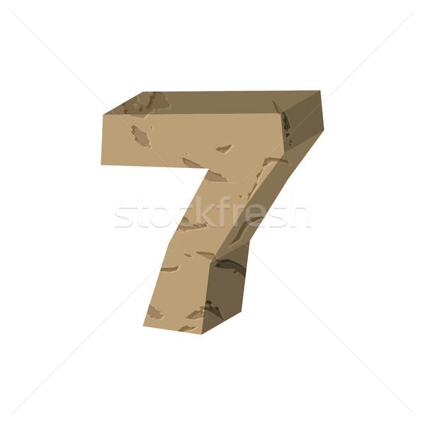 Number 7 stone. Rock font seven. Stones alphabet symbol. rocky c Stock photo © MaryValery