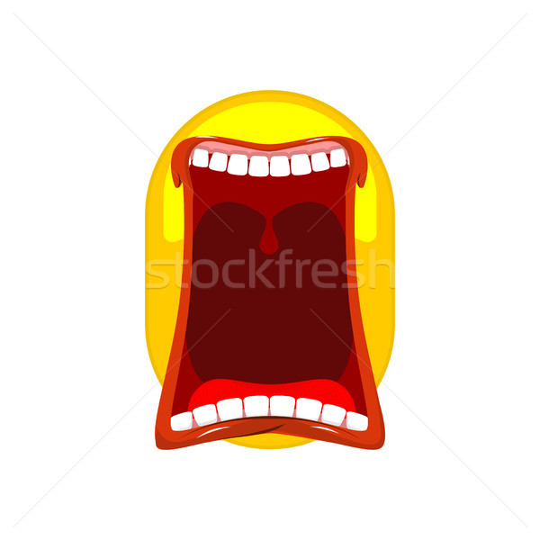 Emoticon screams. Open mouth and teeth. Crazy Emoji. emotion yel Stock photo © MaryValery