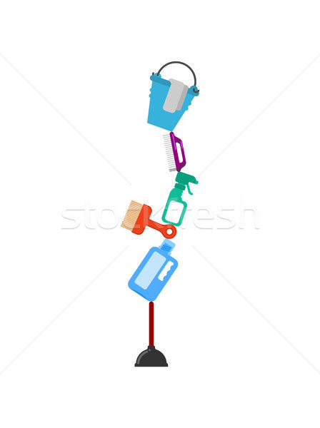 Cleaning service Zen balance. rubber plunger and cleaning agent. Stock photo © MaryValery