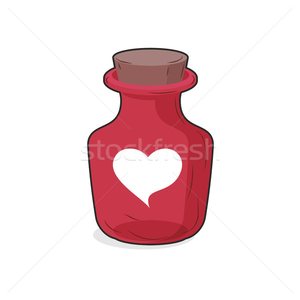 Magic red bottle of love potion. Symbol of  heart. Glass vessel  Stock photo © MaryValery