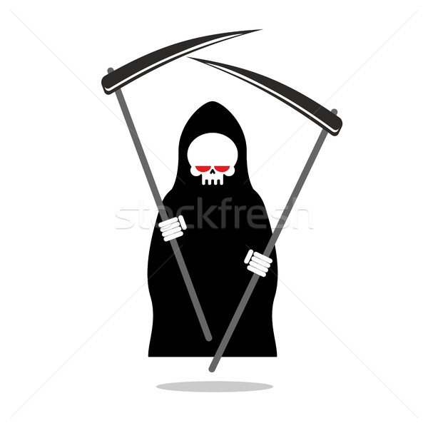 Death with two scythe. Ferocious Grim Reaper with red eyes. Skel Stock photo © MaryValery