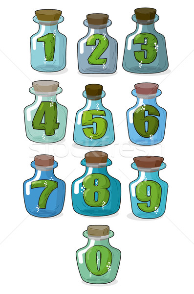 Figures in a retro bottle laboratory for experimentation and res Stock photo © MaryValery