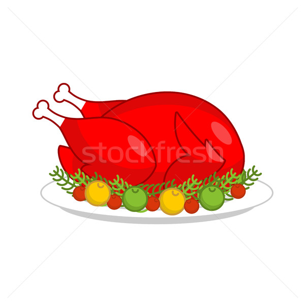 Fried rooster symbol of new year. Baked red cock on plate with a Stock photo © MaryValery