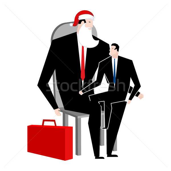 Manager sitting on lap of boss. leader Santa Claus congratulates Stock photo © MaryValery