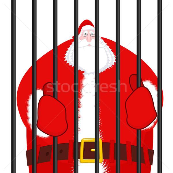 Дед Мороз заключенный Рождества тюрьмы окна баров Сток-фото © MaryValery