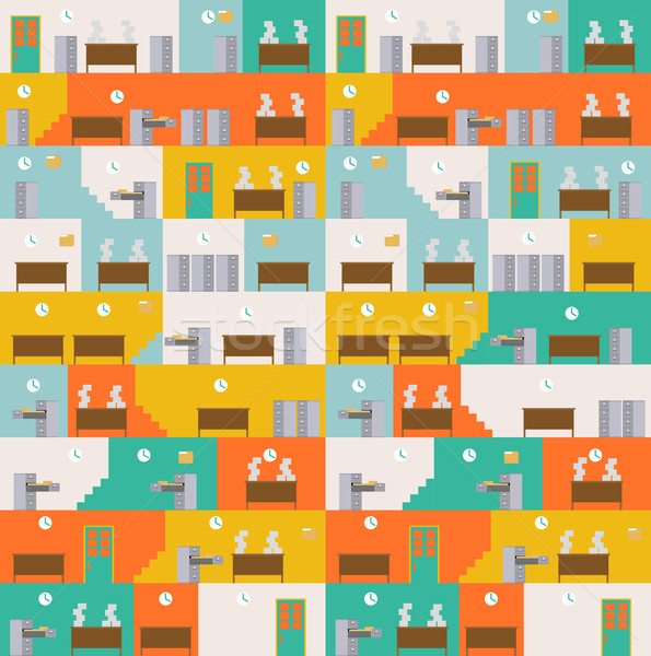 Office Corporate interior pattern. Managers in workplace backgro Stock photo © MaryValery