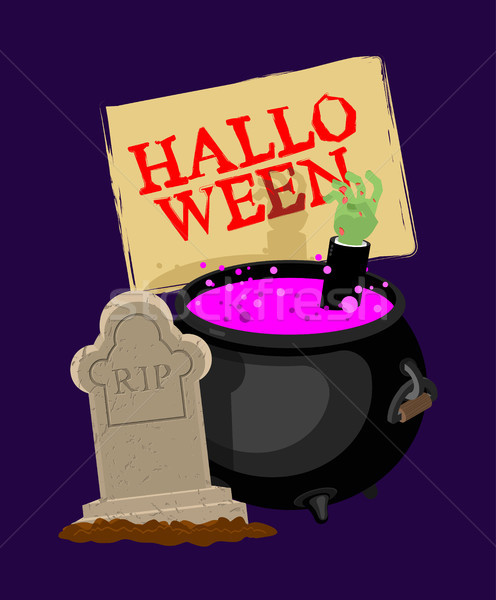 Halloween. Pot with magical potion and hand of zombie. grave and Stock photo © MaryValery