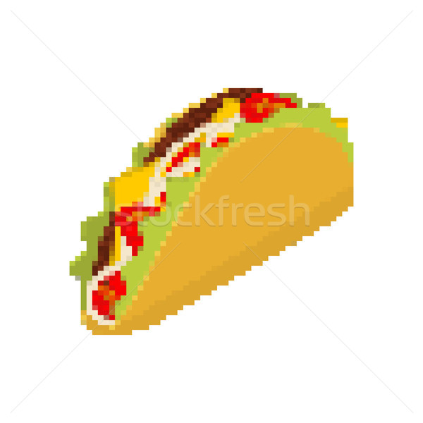 Taco pixel art. Tacos are pixelated. Mexican Fast Food is isolat Stock photo © MaryValery
