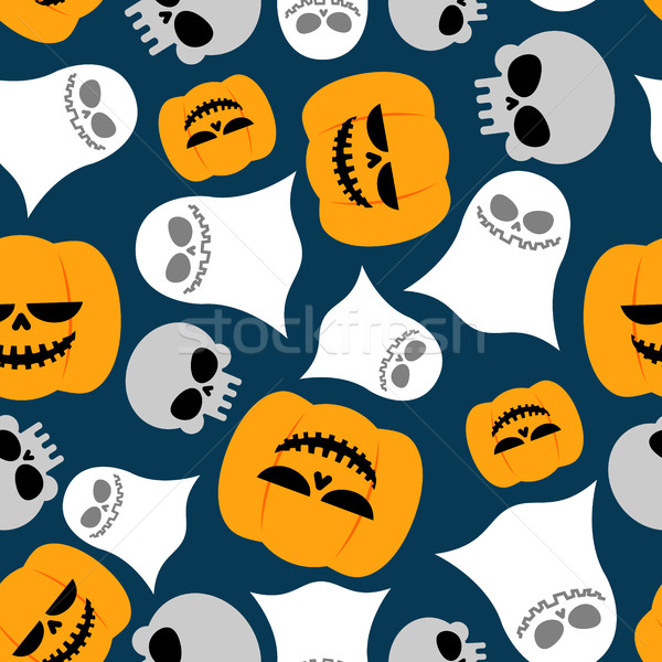 Pumpkin, Ghost and skull seamless pattern. Vector backgrounds fo Stock photo © MaryValery