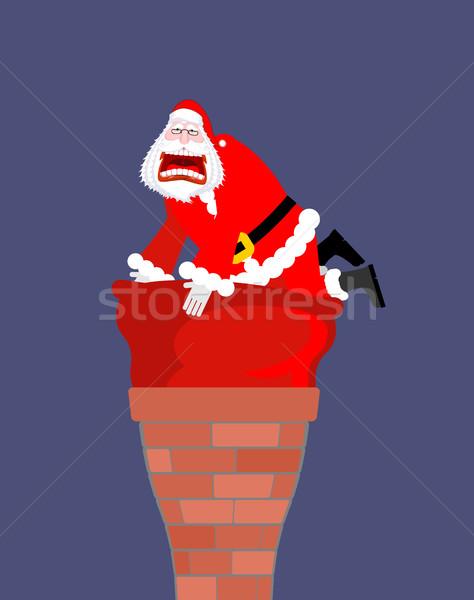 Kerstman schoorsteen zak groot Stockfoto © MaryValery