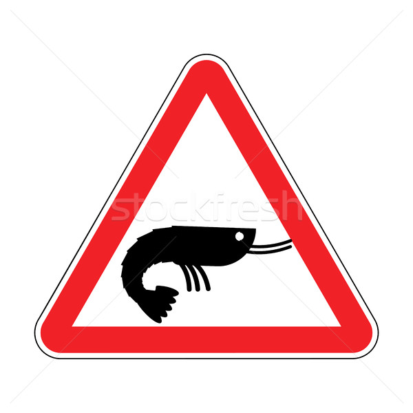 Attention shrimp. Dangers of red road sign. plankton Caution Stock photo © MaryValery