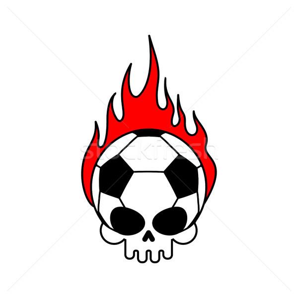 Koponya futballabda tűz futball csontváz fej Stock fotó © MaryValery