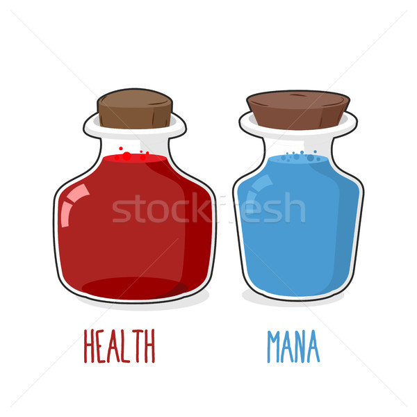 Health and mana. Magic bottle with blue and Red potion. Set of g Stock photo © MaryValery