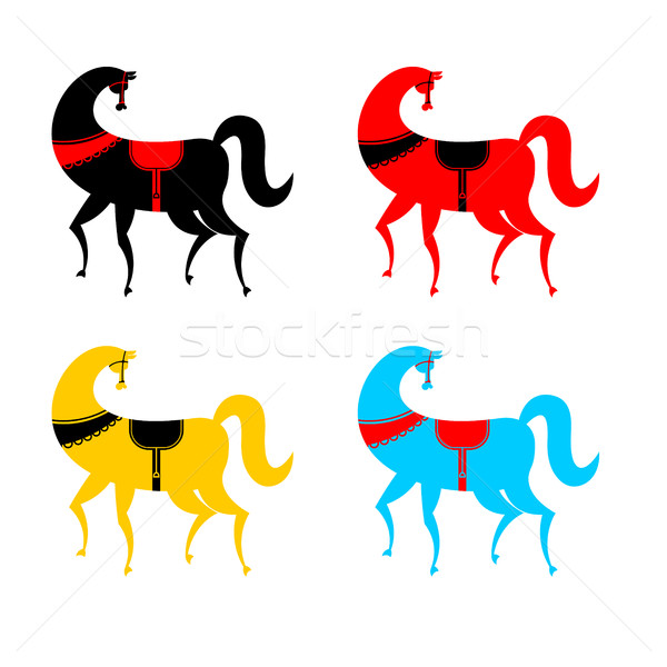 Gorodets painting colored horse set. Russian national folk craft Stock photo © MaryValery