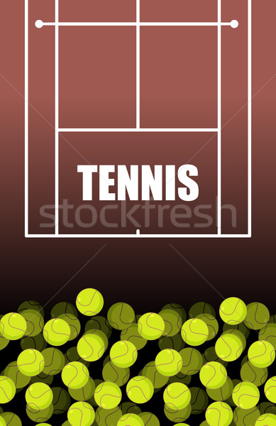 Tennis court and ball. Lot of balls. Tennis background. Sports Stock photo © MaryValery