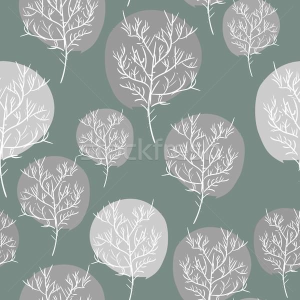 Szürke absztrakt fák végtelenített vektor minta Stock fotó © MaryValery