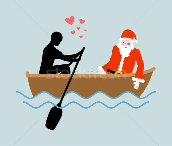 Christmas Lover. Man and Santa Claus and ride in boat. Lovers of Stock photo © MaryValery