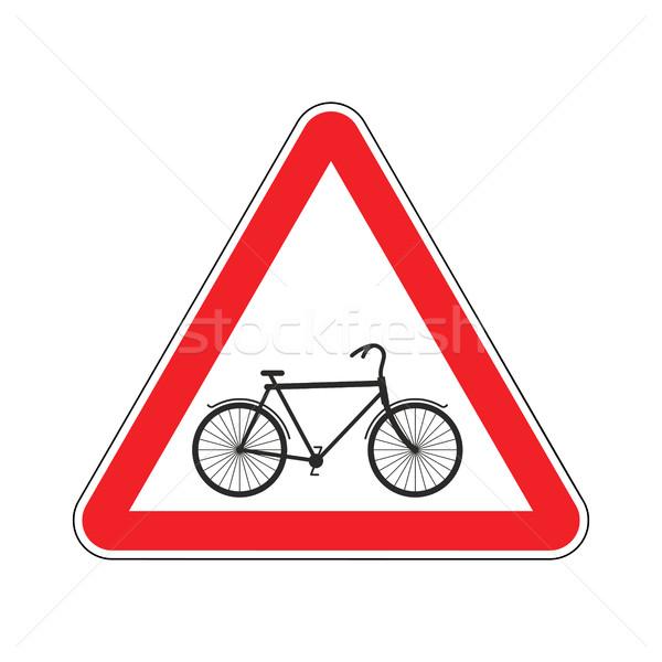 Uwaga rowerzysta rower czerwony trójkąt znak drogowy Zdjęcia stock © MaryValery