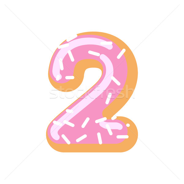 Number 2 donut. Doughnut font two. Sweet alphabet. candy letteri Stock photo © MaryValery