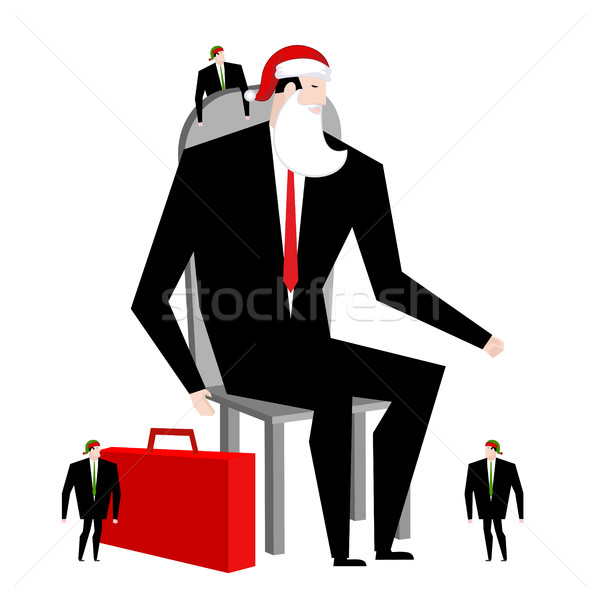 Boss Santa Claus and helper elf. Businessman in festive mask. Ma Stock photo © MaryValery