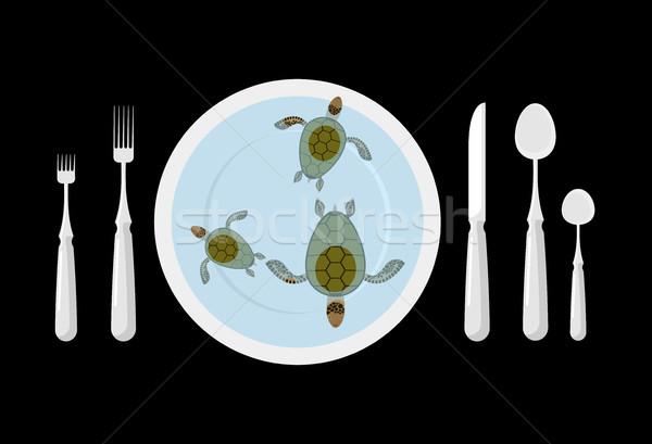 Teknős leves étel evőeszköz asztal etikett Stock fotó © MaryValery