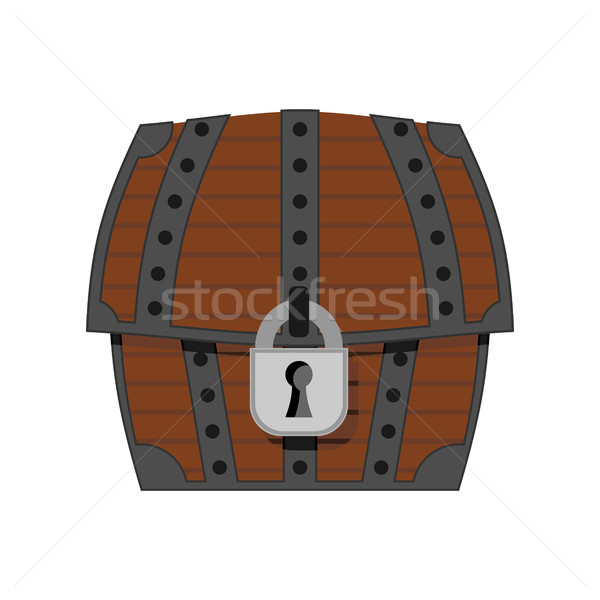 Closed old trunk isolated. Wooden box with jewelry Stock photo © MaryValery