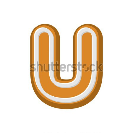 Letter U Gingerbread. Peppermint honey-cake font. Cookies alphab Stock photo © MaryValery