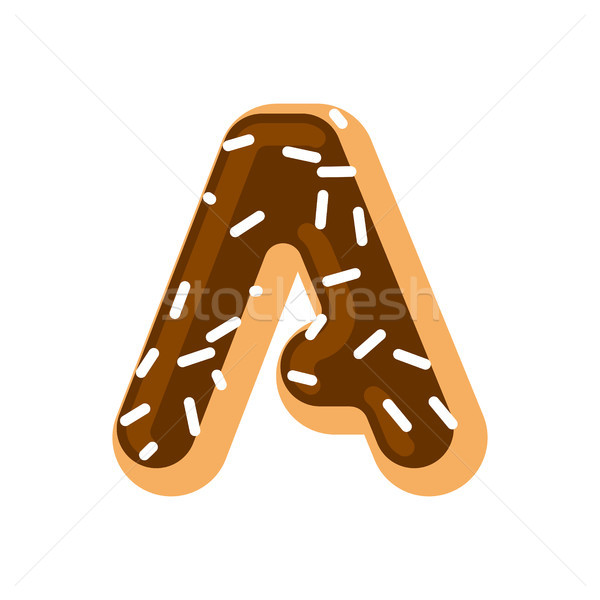 Letter A donut font. Doughnut alphabet. Sweet lettering. candy A Stock photo © MaryValery