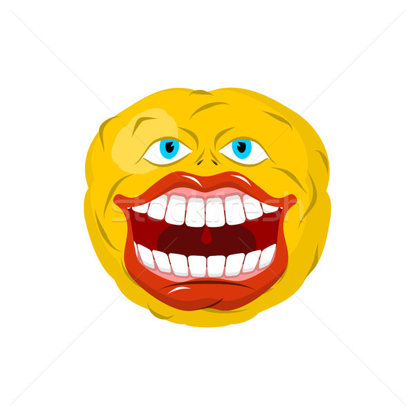 Smiling emoticon. Crazy Emoji. happy is an emotion. Yellow ball  Stock photo © MaryValery