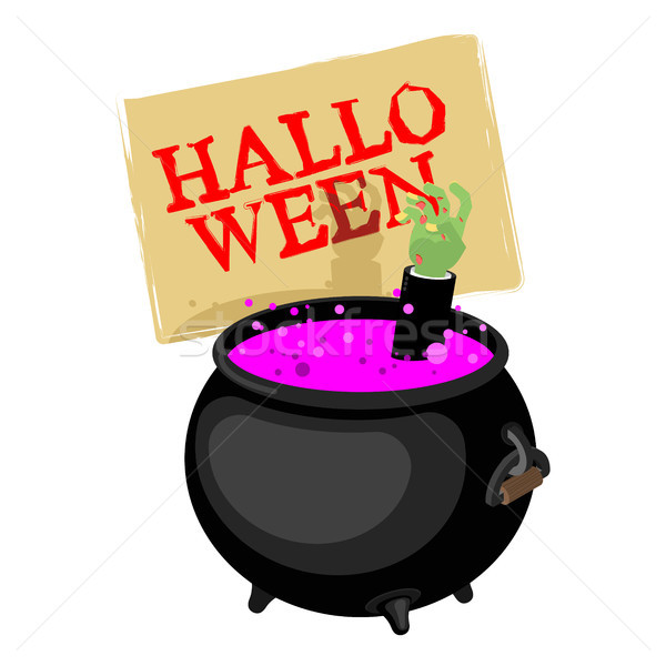 Halloween. Pot with magical potion and hand zombie. Witch access Stock photo © MaryValery