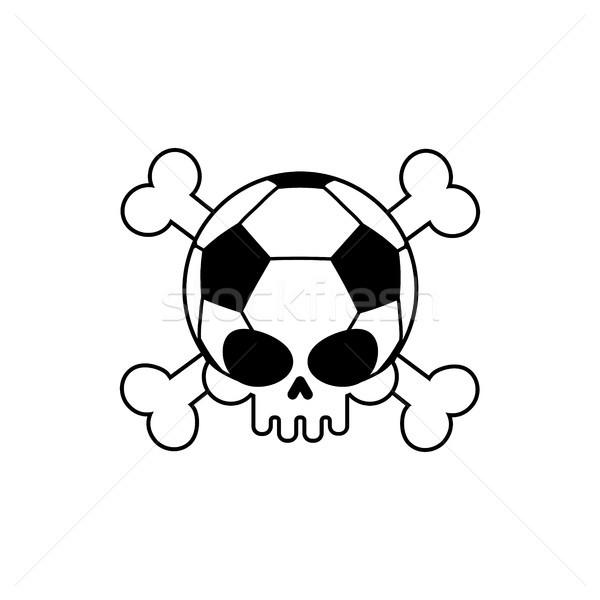Cráneo balón de fútbol fútbol esqueleto cabeza emblema Foto stock © MaryValery
