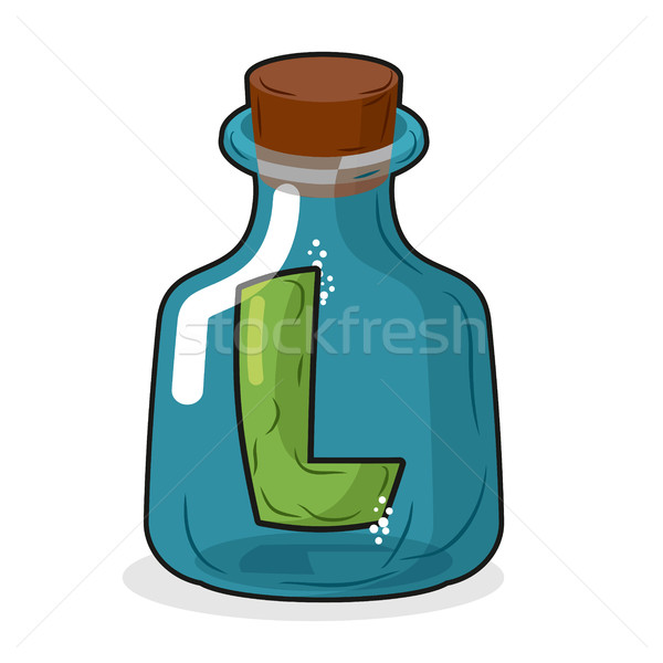 L in scientific laboratory bottle. Letter in a magic bottle with Stock photo © MaryValery