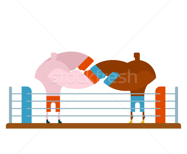 Boxing fight in ring. Two fighters box. Athletes in gloves. Stro Stock photo © MaryValery