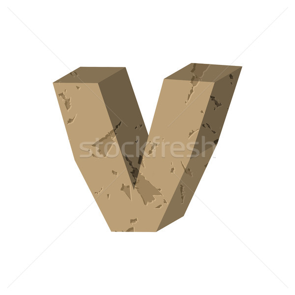 Letter V stone font. Rock alphabet symbol. Stones crag ABC sign Stock photo © MaryValery