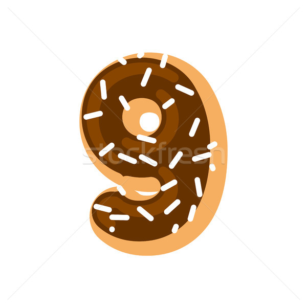 Number 9 donut. Doughnut font nine. Sweet alphabet. candy letter Stock photo © MaryValery
