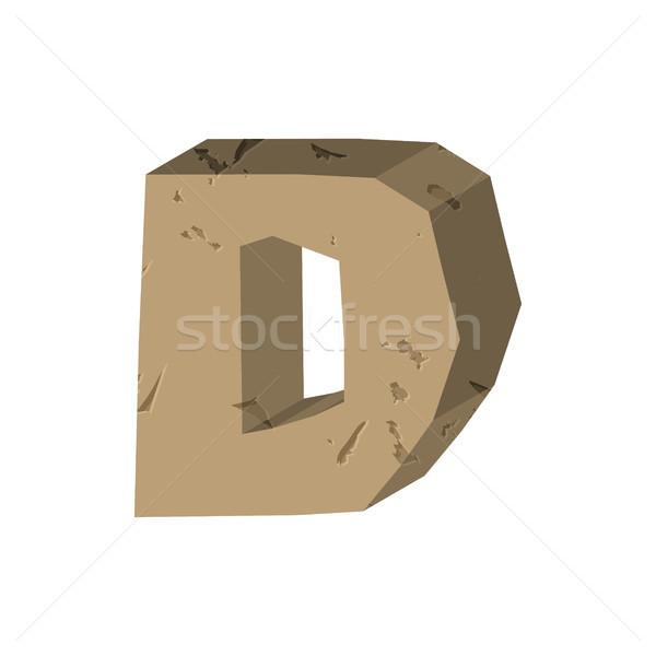 Letter D stone font. Rock alphabet symbol. Stones crag ABC sign Stock photo © MaryValery